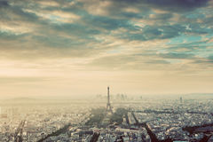 Paris, France vintage skyline, panorama. Eiffel Tower, Champ de Mars Stock Photography