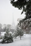 Paris, France, Winter Snow Storm, Eiffel Tower, Royalty Free Stock Photo