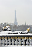 Paris, France, Winter Snow Storm, Pont Alexandre I Royalty Free Stock Photography