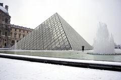 Paris, France, Winter Snow Storm, Pyramid. At the Louvre Museum Building.  Credit Architect: I.M. Pei, PS-54233 Royalty Free Stock Photos