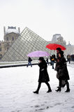 Paris, France, Winter Snow Storm, Pyramid. At the Louvre Museum Building.  Credit Architect: I.M. Pei, PS-54236 Royalty Free Stock Photos