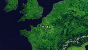Paris - France zoom in from space