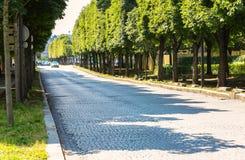 Paris, Frankreich - 14. Juli 2014: große gepflasterte Allee mit n stockbild