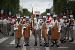 paris frankreich 14. Juli 2012 Pioniere vor der Parade auf dem Champs-Elysees in Paris Lizenzfreie Stockfotografie