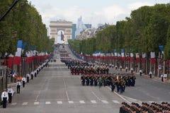 Paris, Frankreich - 14. Juli 2012 Soldaten von der französischen fremden Legion marschieren während der jährlichen Militärparade Lizenzfreies Stockbild