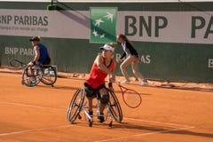 PARIS, FRANCE - JUNE 8, 2019: Roland Garros woman doubles wheel