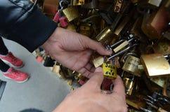 PARIS, FRANKREICH - 29. MÄRZ 2014: LIEBE PADLOCKS FLUSS SENA stockfotografie