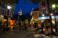 PARIS, FRANKREICH - 10. November 2014 berühmte Künstlerschmerz Montmartre Stockbilder