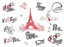 paris frankreich Set Elemente für Auslegung Eiffelturmskizze Anspornungsbeschriftung Aufkleberschablonen Mädchenmodell Vektor lizenzfreie abbildung