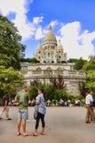 PARIS FRANKRIKE - Augusti 19, 2014 Sacre Coeur basilika i summe Royaltyfri Bild