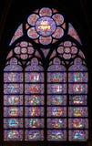 Paris Frankrike - berömt Notre Dame domkyrkamålad glas. Arkivfoto