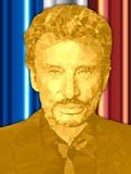 PARIS, FRANCE - DECEMBER 2017 - Death of singer Johnny Hallyday, polygonal graphic elaboration of portrait with French flag