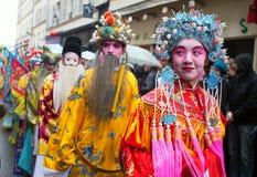 PARIS FRANKRIKE - FEBRUARI 10: Kinesiskt nytt år Arkivfoton