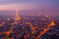 Paris (Frankrike) i solnedgången Arkivbild