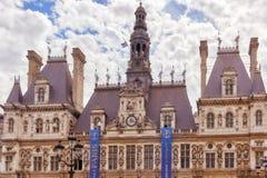 PARIS FRANKRIKE - JULI 08, 2016: Hotell de Ville i Paris, är Fotografering för Bildbyråer