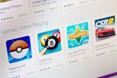 Paris Frankrike - Juni 14, 2017: Mest bra apps av lekar som är tillgängliga på Google, spelar Google spelar är ett stort arkiv so Royaltyfria Bilder