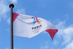 PARIS FRANKRIKE - Juni 25, 2017: Paris är stadskandidaten för OS Arkivbilder