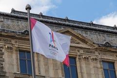 PARIS FRANKRIKE - Juni 25, 2017: Paris är stadskandidaten för OS Arkivfoton