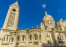Paris Frankrike Juni 1, 2015: Spektakulär basilika av den sakrala hjärtan som lokaliseras i Montmarte Fotografering för Bildbyråer