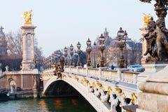 Pont alexandre iii i Paris Royaltyfria Bilder