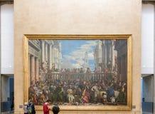 Paris Frankrike - November 10 2016: Turist som komms för att se den historiska kristna bilden i versailles royaltyfria foton