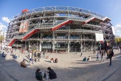PARIS FRANKRIKE - OKTOBER 4: Centre Georges Pompidou på Oktober 4, Arkivfoton