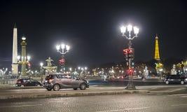 Paris FRANKRIKE - OKTOBER 18: Nattskott av stället laen Concorde Arkivbilder