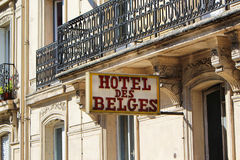 PARIS FRANKRIKE - SEPTEMBER 10, 2015: Hotelldes-belges Arkivbild