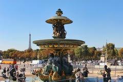 PARIS FRANKRIKE - SEPTEMBER 10, 2015: Obeliskspringbrunn Royaltyfri Foto