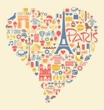Paris Frankrike symbolsgränsmärken och dragningar stock illustrationer