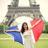 Paris-Frau Franzosemarkierungsfahne Stockfotografie