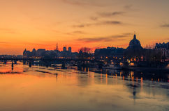 Paris, Frence: Seine river and Old Town of in sunrise. Paris, Frence: Seine river and Old Town of in the beautiful sunrise Stock Photo