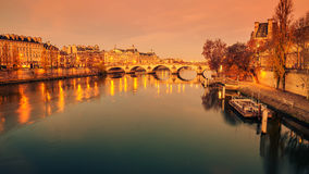 Paris, Frence: Seine river and Old Town of in sunrise Royalty Free Stock Photography