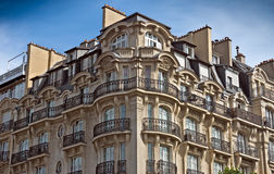 Paris - French architecture. PARIS, FRANCE - JUNE 11, 2014: View of the typical french architecture Royalty Free Stock Image