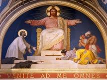 Paris - fresco of Jesus from Francis Xavier church Stock Photos
