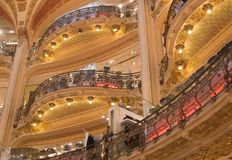 Paris. Galeries Lafayette. Balconies Stock Images