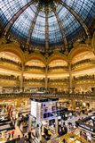 Paris Galeries Lafayette shopping mall. PARIS, FRANCE - JUN 18, 2015: Interior view of the Galeries Lafayette shopping mall in Paris Royalty Free Stock Image