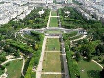 Paris Garden Champ de mars. Champ de mars - view from Eiffel tower, Paris royalty free stock photo