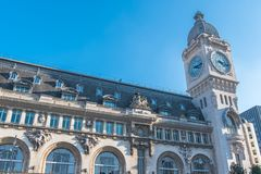 Paris, gare de Lyon. Railway station, facade and clock royalty free stock image