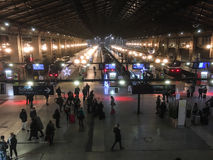 Paris Gare du Nord on a busy evening, viewed from a balcony Stock Photo