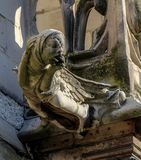 Paris - The gargoyles on the south side wall of the Saint Chapelle.  Stock Photo