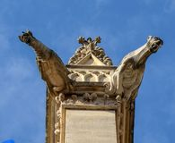 Paris - The gargoyles on the south side wall of the Saint Chapelle.  Stock Images