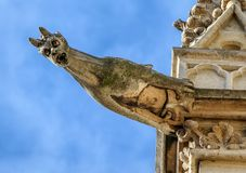 Paris - The gargoyles on the south side wall of the Saint Chapelle.  Royalty Free Stock Images