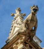 Paris - The gargoyles on the south side wall of the Saint Chapelle.  Royalty Free Stock Photo