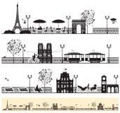 Paris gator stock illustrationer