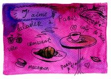 Paris-Gedächtnishandzeichnungs-Aquarellpostkarte Lizenzfreie Stockfotografie