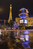 The Paris globe reflecting in flood water in Las Vegas, NV on Ju. LAS VEGAS - JULY 19, 2013 - Vegas Strip on July 19, 2013 in Las Vegas. The Paris Hotel Royalty Free Stock Images