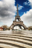 Paris. Gorgeous wideangle view of Eiffel Tower with Stairs to Se Royalty Free Stock Photography