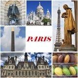 Paris gränsmärkecollage Arkivbilder