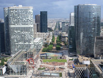 Paris from Grand Arche. View to Arc de triomph from Grand Arche in La Defense, Paris Royalty Free Stock Images
